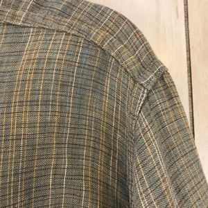 Flax Tops - Flax Linen Subtle Plaid Exposed Seams Shirt